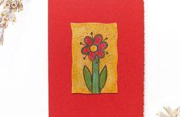 Kartka uniwersalna czerwona z kwiatkiem  1