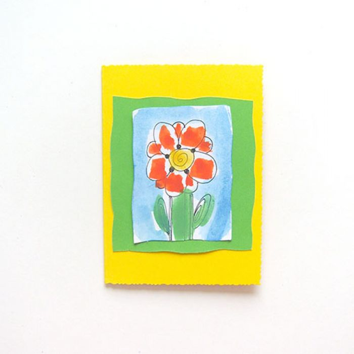 Kartka żółta  z kwiatkiem 7