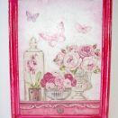 Obrazek w ramce z różami decoupage