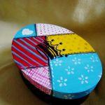 Owalne pudełko patchworkowe -