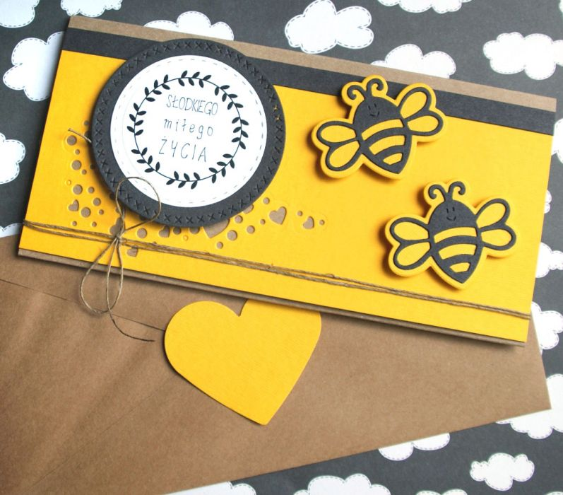 kartka - kopertówka :: pszczółki