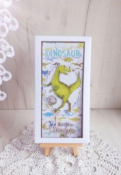Kartka urodzinowa DL z Dinozaurem 2 GOTOWA