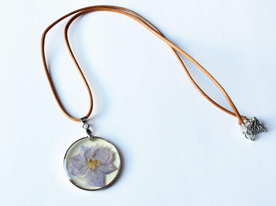 Naszyjnik KWIAT w żywicy, piękny naturalny - kwiat w żywicy 4