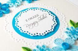 Kartka na rocznicę, Quilling, niebieska