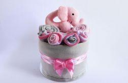 MINI Tort wyprawkowy- szaro-różowy