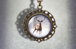 Medalion, naszyjnik - Jeleń 2 - zdobiony, stare złoto