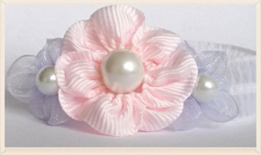 Delikatna opaska na chrzest róż fiolet