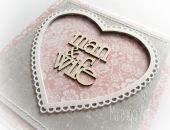 man&wife - kartka ślubna w szarości różu