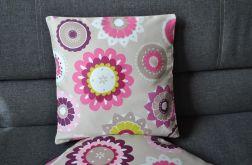 Poszewka dekoracyjna Amarantowe kwiaty / beż