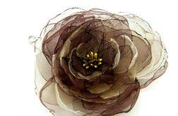 Broszka kwiat - brązy 11 cm