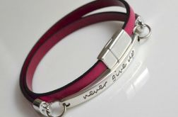 fuchsia leather - never give up