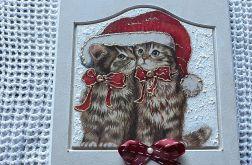 Obrazek świąteczny z kotkami