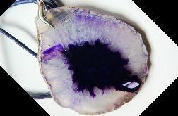 Surowy plaster, kryształ z agatem, wisior