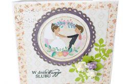 Kartka Ślubna Para w kwiatach
