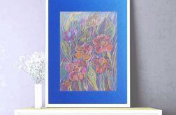 Rysunek z kwiatami na granatowym tle nr 1