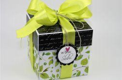 Ślubny exploding box zielone listki