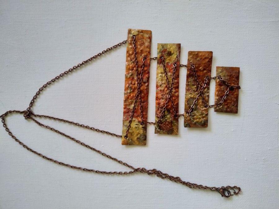 Naszyjnik z miedzi na łańcuszku  - Naszyjnik z pięknej kolorowej czystej miedzi