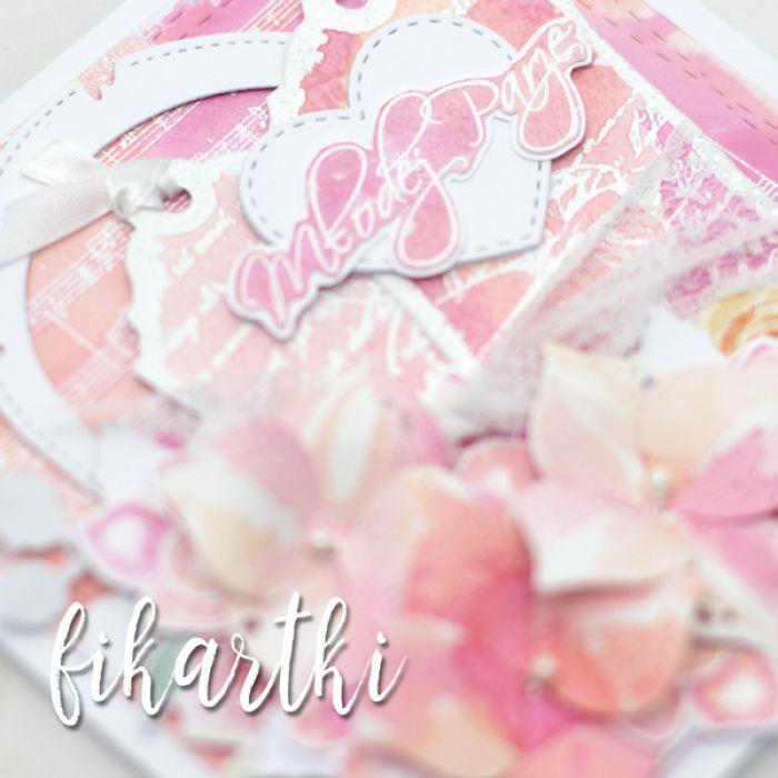 Kartka ślubna malowana akwarelami KSK2013 - ręcznie wykonana