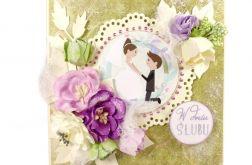 #138 kartka ślubna zielono-fioletowa