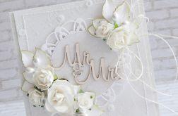 Kartka ślubna w bieli Mr&Mrs