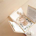 Kartka box dla dziewczynki Komunia złocenia - Kartka na komunię ręcznie robiona