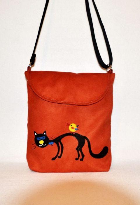 f2cd5dc4dcc22 Kolorowa torebka listonoszka z kotkiem - UniQueBags