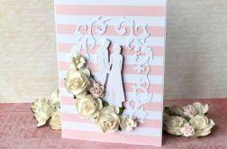 Kartka ślubna w różowe pasy