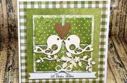 Ślubna kartka-zakochane ptaszki
