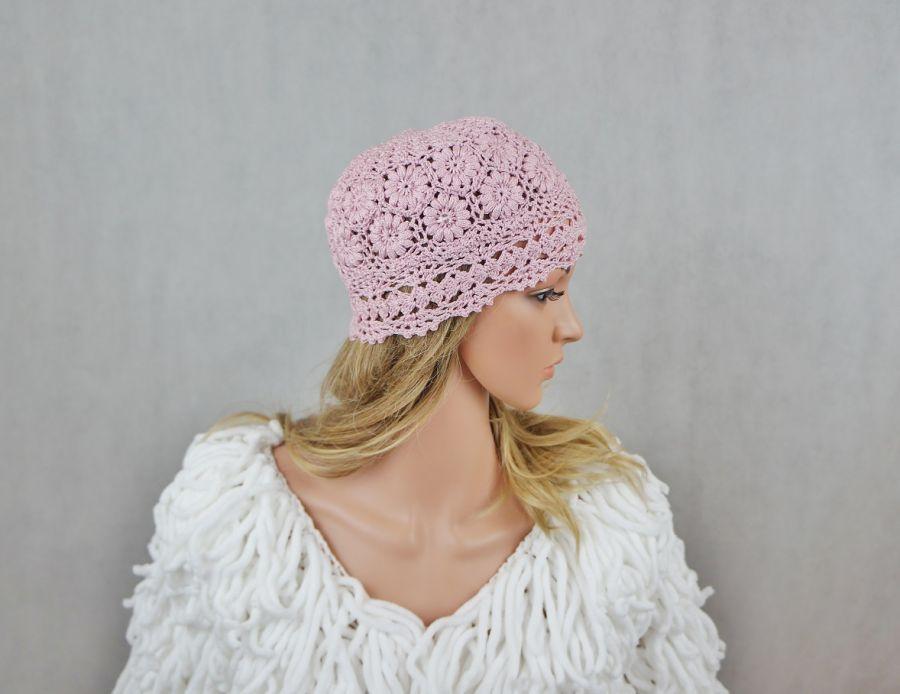CZAPKA HANDMADE RÓŻOWA eL - czapka handmade