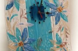"""Artystyczna kompozycja ze szkła - zegar """"Niebieskie kwiaty"""""""