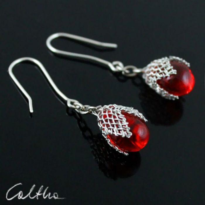 Czerwone w siateczce -  kolczyki - Kolczyki - krople