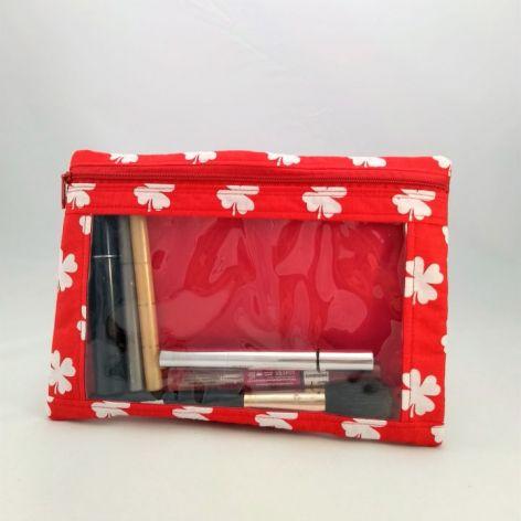Kosmetyczka z okienkiem średnia czerwona