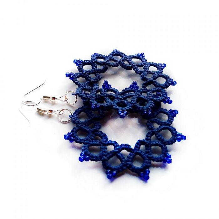Frywolitkowe koła - kolczyki niebieskie