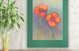 Rysunek z kwiatami na ciemnozielonym tle nr 9