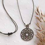 Medalion mandala naszyjnik z wisiorkiem - Boho wisiorek na szyję