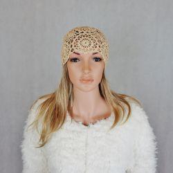 COCO czapka szydełkowa beżowa