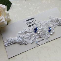 Ślubna, zdobiona, koronkowa podwiązka