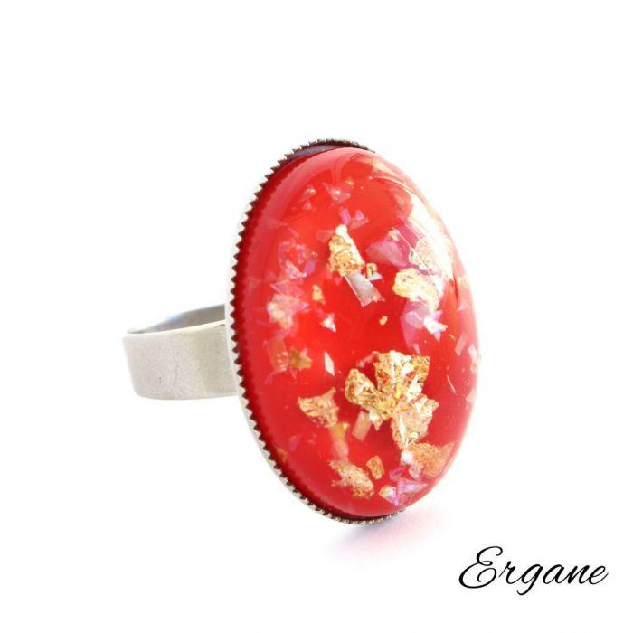 Pierścień z Czerwonym Oczkiem z Żywicy