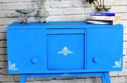Komoda PRL niebieska, ręcznie malowana