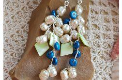 4988 długie kolczyki perły marmur masa