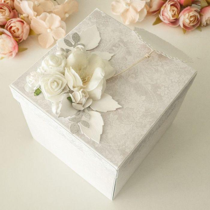 Kartka ślubna, exploding box - tort