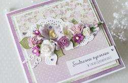 Romantyczna kartka z bukietem kwiatów v.5