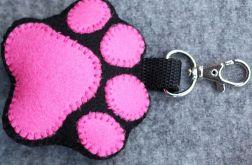 Brelok Psia łapka różowa z imieniem psa