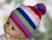 czapka  wesołe  paseczki 2