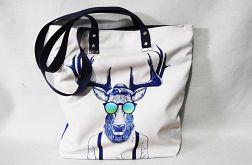 Torebka torba XXL ART POP Jeleń w okularach