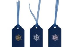 Etykietka do prezentów z tłoczoną śnieżynką 1