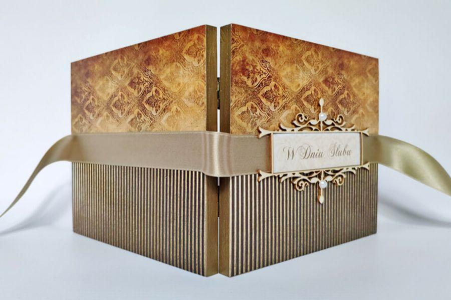 Kartka na ślub w złocie 01, prezent, pamiątka, pudełko -