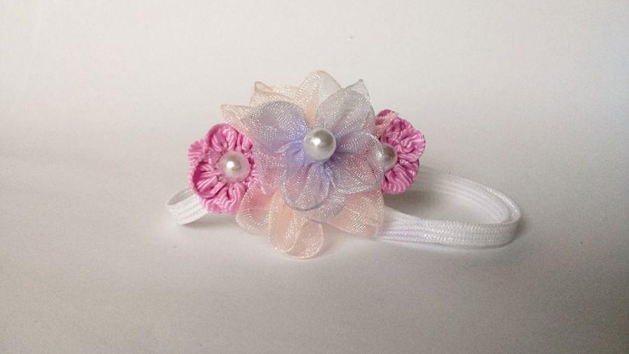 Opaska kwiatuszki różowe na chrzest okzaje