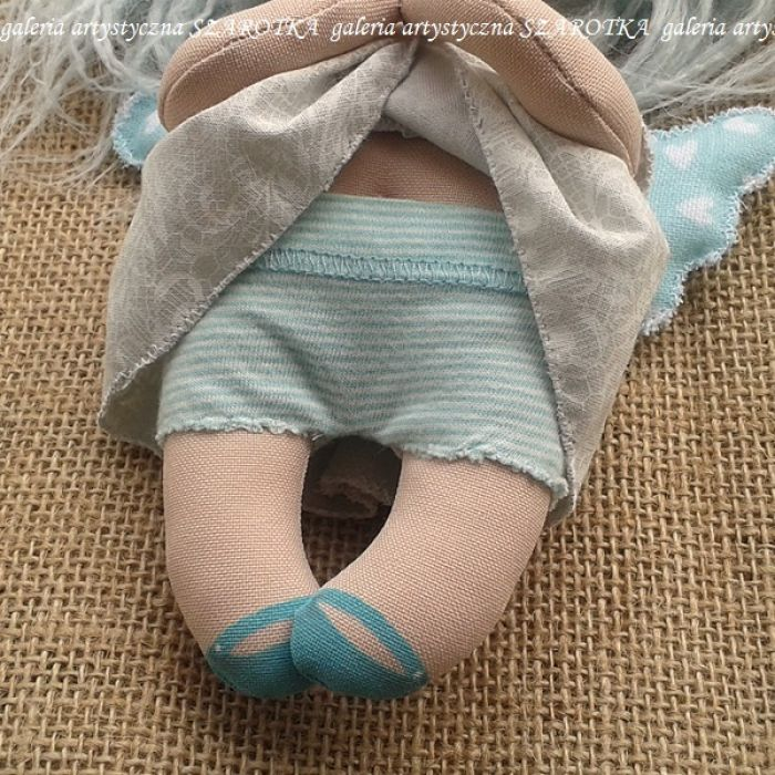 ANIOŁEK lalka - dekoracja tekstylna, OOAK /09 - mam majteczki w paseczki