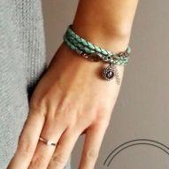 Brasoletka stal szlachetna -Turquoise Leather